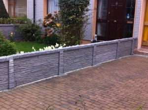 Low Wall Section Stone Effect Garden Fencing